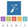 Magic wand flat white icons in square backgrounds. 6 bonus icons included. - Magic wand flat white icons in square backgrounds