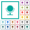 Desk mirror flat color icons with quadrant frames - Desk mirror flat color icons with quadrant frames on white background