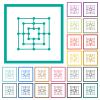 Nine men's morris game board flat color icons with quadrant frames on white background - Nine men