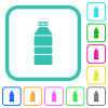 Water bottle vivid colored flat icons - Water bottle vivid colored flat icons in curved borders on white background