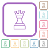White chess queen simple icons - White chess queen simple icons in color rounded square frames on white background