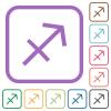 Sagittarius zodiac symbol simple icons - Sagittarius zodiac symbol simple icons in color rounded square frames on white background
