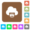 Cloud printing rounded square flat icons - Cloud printing flat icons on rounded square vivid color backgrounds.