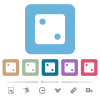 Dice two flat icons on color rounded square backgrounds - Dice two white flat icons on color rounded square backgrounds. 6 bonus icons included