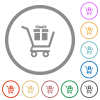 Gift shopping flat icons with outlines - Gift shopping flat color icons in round outlines on white background