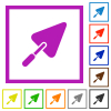Trowel flat color icons in square frames on white background - Trowel flat framed icons