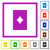 Diamond card symbol flat color icons in square frames on white background - Diamond card symbol flat framed icons