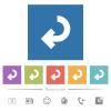 Return arrow flat white icons in square backgrounds - Return arrow flat white icons in square backgrounds. 6 bonus icons included.