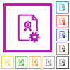 Generating certificate flat color icons in square frames on white background - Generating certificate flat framed icons
