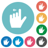 Left handed move left gesture flat round icons - Left handed move left gesture flat white icons on round color backgrounds