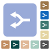 Split arrows left rounded square flat icons - Split arrows left white flat icons on color rounded square backgrounds