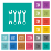Set of wrenches square flat multi colored icons - Set of wrenches multi colored flat icons on plain square backgrounds. Included white and darker icon variations for hover or active effects.