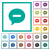 Delete comment flat color icons with quadrant frames on white background - Delete comment flat color icons with quadrant frames