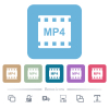 mp4 movie format white flat icons on color rounded square backgrounds. 6 bonus icons included - mp4 movie format flat icons on color rounded square backgrounds