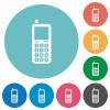 Retro mobile phone flat round icons - Retro mobile phone flat white icons on round color backgrounds