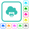 Cloud printing vivid colored flat icons - Cloud printing vivid colored flat icons in curved borders on white background