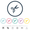 Barber scissors flat color icons in round outlines. 6 bonus icons included. - Barber scissors flat color icons in round outlines