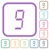 digital number nine of seven segment type simple icons - digital number nine of seven segment type simple icons in color rounded square frames on white background