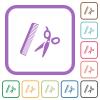Comb and scissors simple icons in color rounded square frames on white background - Comb and scissors simple icons