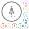 Rocket flat icons with outlines - Rocket flat color icons in round outlines on white background