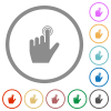left handed clicking gesture flat icons with outlines - left handed clicking gesture flat color icons in round outlines on white background