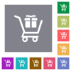 Gift shopping square flat icons - Gift shopping flat icons on simple color square backgrounds