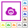 Cloud printing flat framed icons - Cloud printing flat color icons in square frames on white background