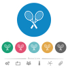 Two tennis rackets flat white icons on round color backgrounds. 6 bonus icons included. - Two tennis rackets flat round icons
