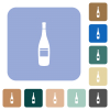 Wine bottle with label rounded square flat icons - Wine bottle with label white flat icons on color rounded square backgrounds