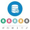 Undo database changes flat round icons - Undo database changes flat white icons on round color backgrounds. 6 bonus icons included.