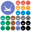 Car jack round flat multi colored icons - Car jack multi colored flat icons on round backgrounds. Included white, light and dark icon variations for hover and active status effects, and bonus shades.