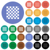 Chess board round flat multi colored icons - Chess board multi colored flat icons on round backgrounds. Included white, light and dark icon variations for hover and active status effects, and bonus shades.