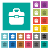 Toolbox square flat multi colored icons - Toolbox multi colored flat icons on plain square backgrounds. Included white and darker icon variations for hover or active effects.