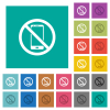 No smartphone square flat multi colored icons - No smartphone multi colored flat icons on plain square backgrounds. Included white and darker icon variations for hover or active effects.