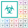 Biohazard sign flat color icons with quadrant frames - Biohazard sign flat color icons with quadrant frames on white background