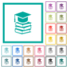 Graduation cap with books flat color icons with quadrant frames - Graduation cap with books flat color icons with quadrant frames on white background