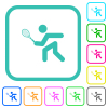 Tennis player vivid colored flat icons - Tennis player vivid colored flat icons in curved borders on white background