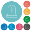 Tombstone with cross flat round icons - Tombstone with cross flat white icons on round color backgrounds