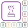 White chess rook simple icons - White chess rook simple icons in color rounded square frames on white background