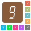 digital number nine of seven segment type flat icons on rounded square vivid color backgrounds.