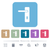 Left handed simple door handle flat icons on color rounded square backgrounds - Left handed simple door handle white flat icons on color rounded square backgrounds. 6 bonus icons included