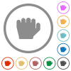 Left handed grab gesture flat icons with outlines - Left handed grab gesture flat color icons in round outlines on white background
