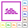 Brick wall and trowel flat framed icons - Brick wall and trowel flat color icons in square frames on white background