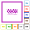Roulette table flat framed icons - Roulette table flat color icons in square frames on white background