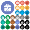 Toolbox round flat multi colored icons - Toolbox multi colored flat icons on round backgrounds. Included white, light and dark icon variations for hover and active status effects, and bonus shades.
