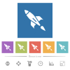 Rocket flat white icons in square backgrounds - Rocket flat white icons in square backgrounds. 6 bonus icons included.