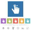 Right handed slide right gesture flat white icons in square backgrounds - Right handed slide right gesture flat white icons in square backgrounds. 6 bonus icons included.