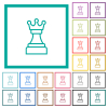 White chess queen flat color icons with quadrant frames - White chess queen flat color icons with quadrant frames on white background
