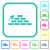 Brick wall and trowel vivid colored flat icons - Brick wall and trowel vivid colored flat icons in curved borders on white background