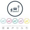 Pedestrian crossing flat color icons in round outlines - Pedestrian crossing flat color icons in round outlines. 6 bonus icons included.